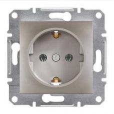 Розетка с заземлением и защитными шторками Schneider Electric Asfora бронза (EPH2900269)