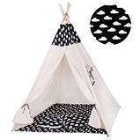 Детская палатка вигвам Springos Tipi Xxl White/Black SKL41-277677, фото 10