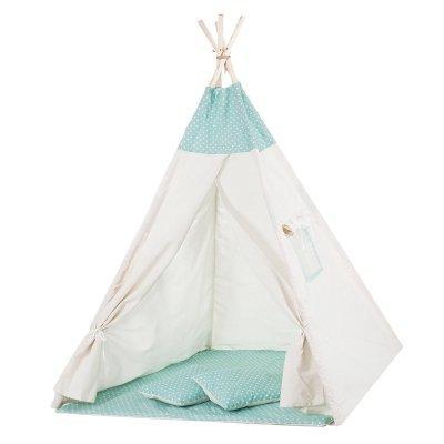 Детская палатка вигвам Springos Tipi Xxl White/Mint SKL41-277680