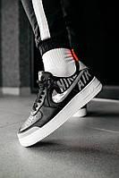 Мужские кроссовки NIke AIr Force черно белые