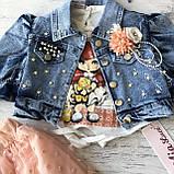 Летний джинсовый костюм на девочку 580. Размер 86 см, 104 см, фото 4
