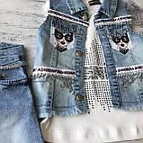 Летний джинсовый костюм на девочку 585. Размер 92 см, 98 см, 104 см, 110 см, фото 2