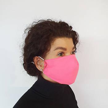 Маска защитная Золушка на лицо многоразовая 2-х слойная Розовая (М2005)