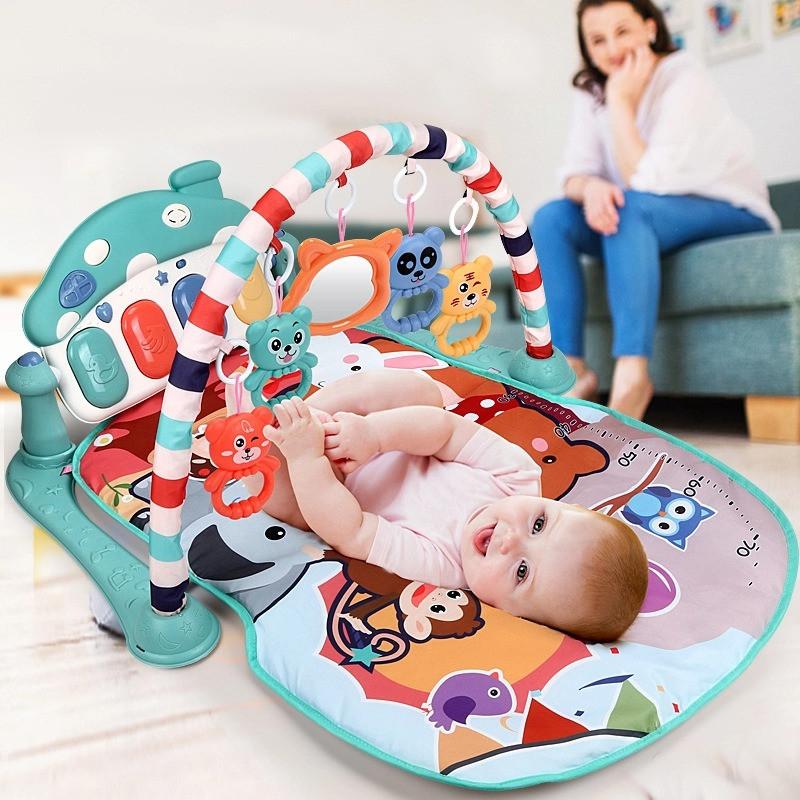 Многофункциональный детский музыкальный коврик с пианино Развивающий коврик для ребенка от 0 мес  Голубой