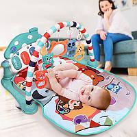 Многофункциональный детский музыкальный коврик с пианино Развивающий коврик для ребенка от 0 мес  Голубой, фото 1