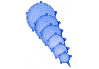 Набор многоразовых силиконовых крышек для посуды 6 штук Super Stretch SILICONE Lids (SSSL6)