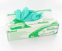 Перчатки без пудры, зеленые, виниловые L 100 шт