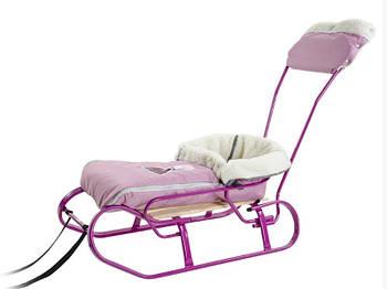 Комплект Vitan санки для девочки санки + ручка + спинка + меховой чехол Розовый