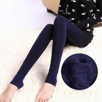 Леггинсы теплые на меху Fur с носочком S-XL Темно-синий (NA00027)