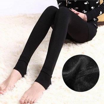 Леггинсы теплые на меху Fur с носочком S-XL Черный (MKI00027)