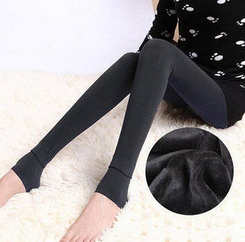 Леггинсы теплые на меху Fur с носочком S-XL Темно-серый (NL00027)
