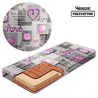 Матрац кокос - поролон /чехол поликотон/ - Love КП-2 32252 - цвет серо-фиолетовый ТМ Беби-Текс