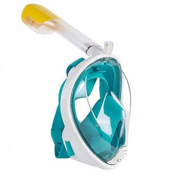 Полнолицевая маска для подводного плавания Freebreath S/M Белый с бирюзовым (frb005)