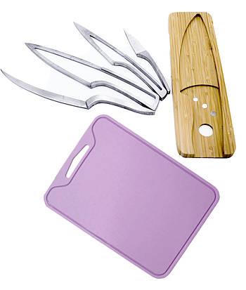 Набор разделочная доска силиконовая и комплект кухонных ножей на деревянной подставке (vol-805)