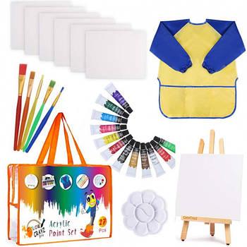 Детский художественный подарочный набор для рисования и творчества Acrylic Paint Set 27 шт (YJ-KP4A321)