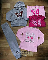 Трикотажний костюм-трійка для дівчаток Seagull оптом, 4-12 років. Артикул: CSQ52235