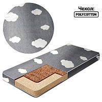 Матрас кокос - поролон /чехол поликотон/ - Тучки КП-2 32221 - цвет серый ТМ Беби-Текс