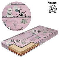 Матрас кокос - поролон - кокос - хлопок №1 - Зебра КПК-1 29009 цвет розовый ТМ Беби-Текс