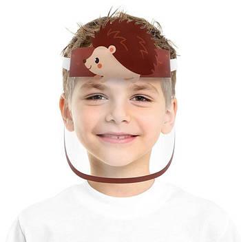 """Детская многоразовая пластиковая маска щит OTG с героями мультиков """"Лесной ёжик"""" , размер универсальный"""