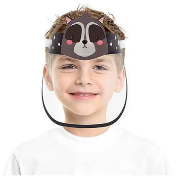 """Детская многоразовая пластиковая маска щит OTG с героями мультиков """"Озорной Енот"""" , размер универсальный"""