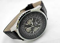 Мужские часы BREITLING кварцевые, черный циферблат, корпус серебристый