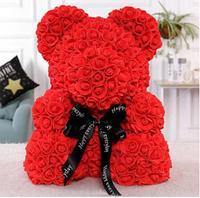 Мишка из роз 25 см (красный) мягкая игрушка маленький медведь из цветов на подарок для девушки
