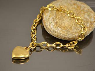 Браслет Сердце, якорная цепь 19,8см, нерж сталь золото