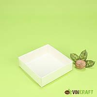 Коробка 120*120*30 для пряника з ПВХ кришкою, біла