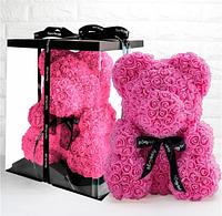 Мишка из роз 25 см (розовый) мягкая игрушка маленький медведь из цветов на подарок для девушки