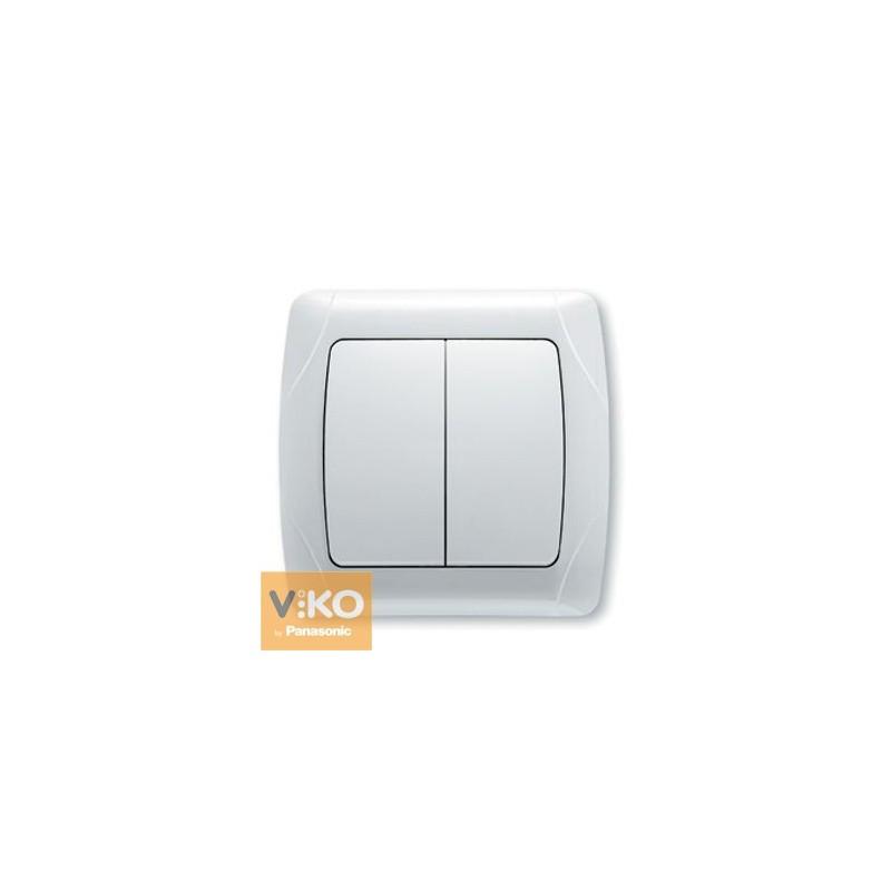 Выключатель двухклавишный VIKO Carmen - Белый