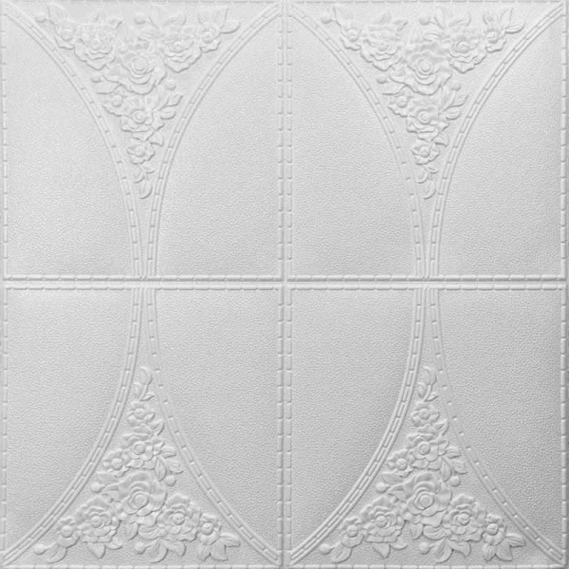 Самоклеюча декоративна стельова 3D панель 700х700х4мм