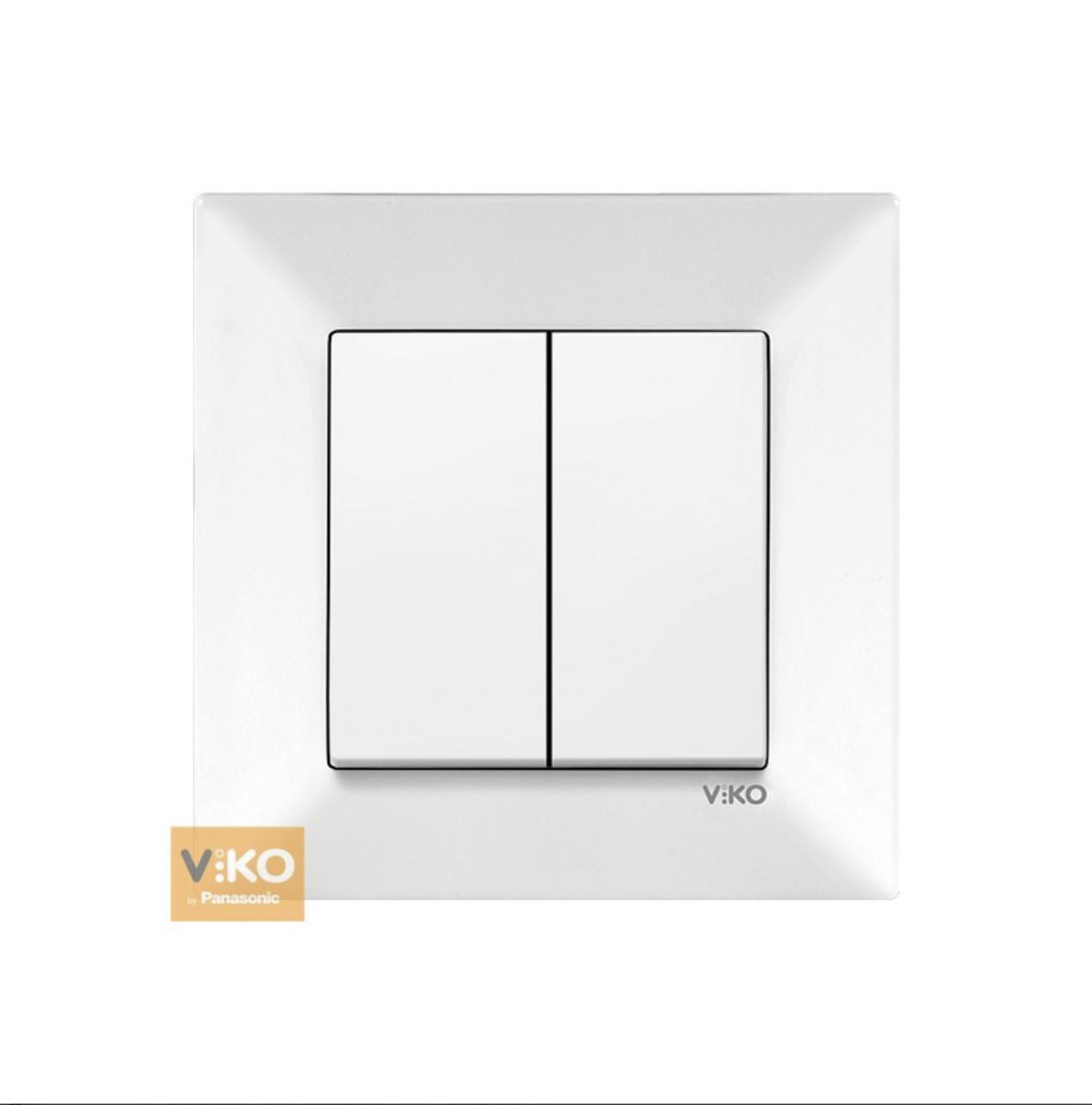 Вимикач двоклавішний VIKO Meridian - Білий