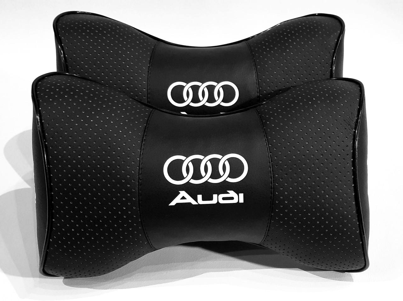 Подушка на подголовник в автомобиль Audi Удобная подушка в авто под шею на подголовник с логотипом Audi