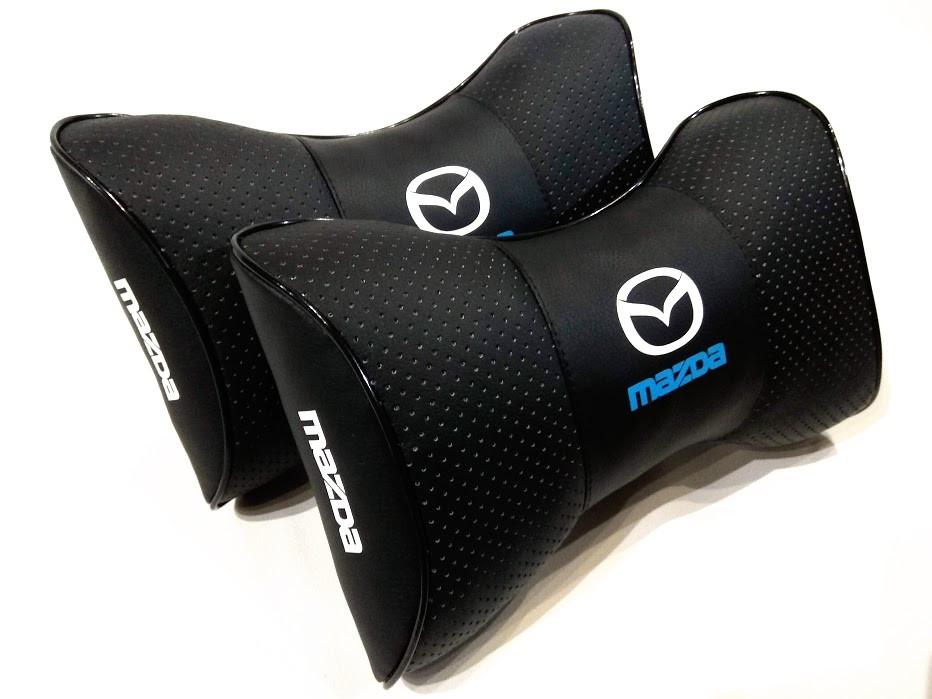 Подушка на подголовник с логотипом MAZDA Подарок автолюбителю в машину Качественная подушка на подголовник