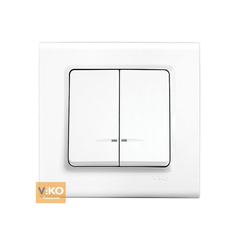 Выключатель с подсветкой двухклавишный VIKO Linnera - Белый