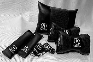 Комплект аксессуаров салона Подушки с логотипом Acura Подарок в авто Подушка на подголовник в авто Акура