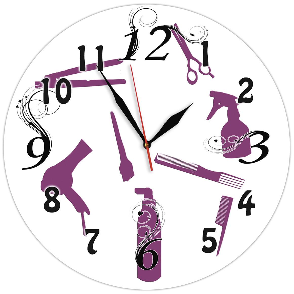 Настінні годинники Для перукарні скляні кварцові - 35см