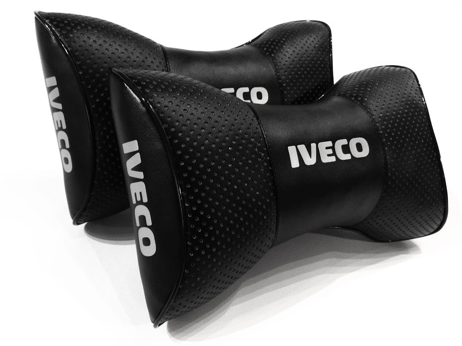 Качественная подушка на подголовник с логотипом IVECO Подушка под голову и шею в автомобиль IVECO