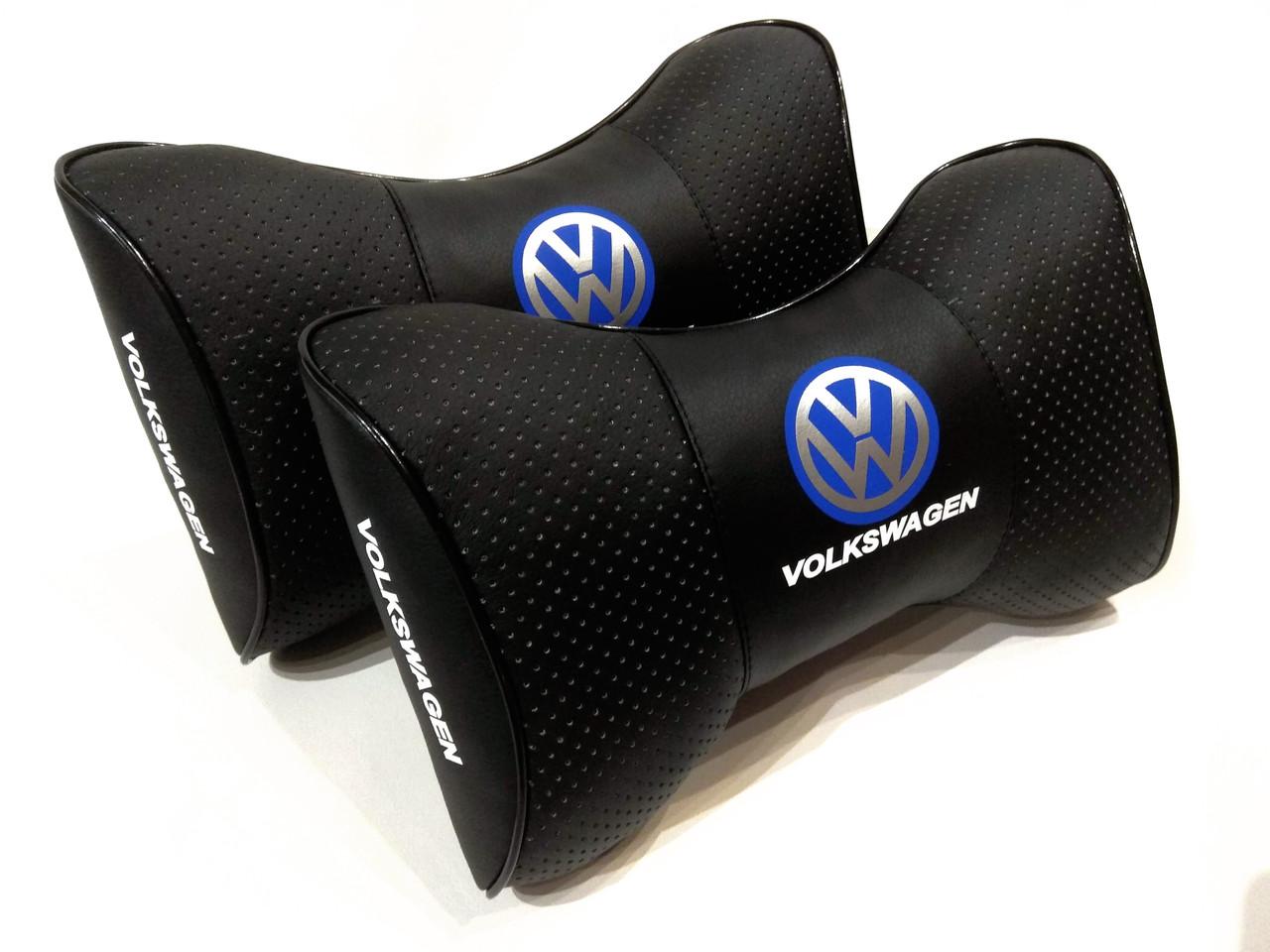 Качественная автомобильная подушка под шею водителю Подушка на подголовник с логотипом VOLKSWAGEN