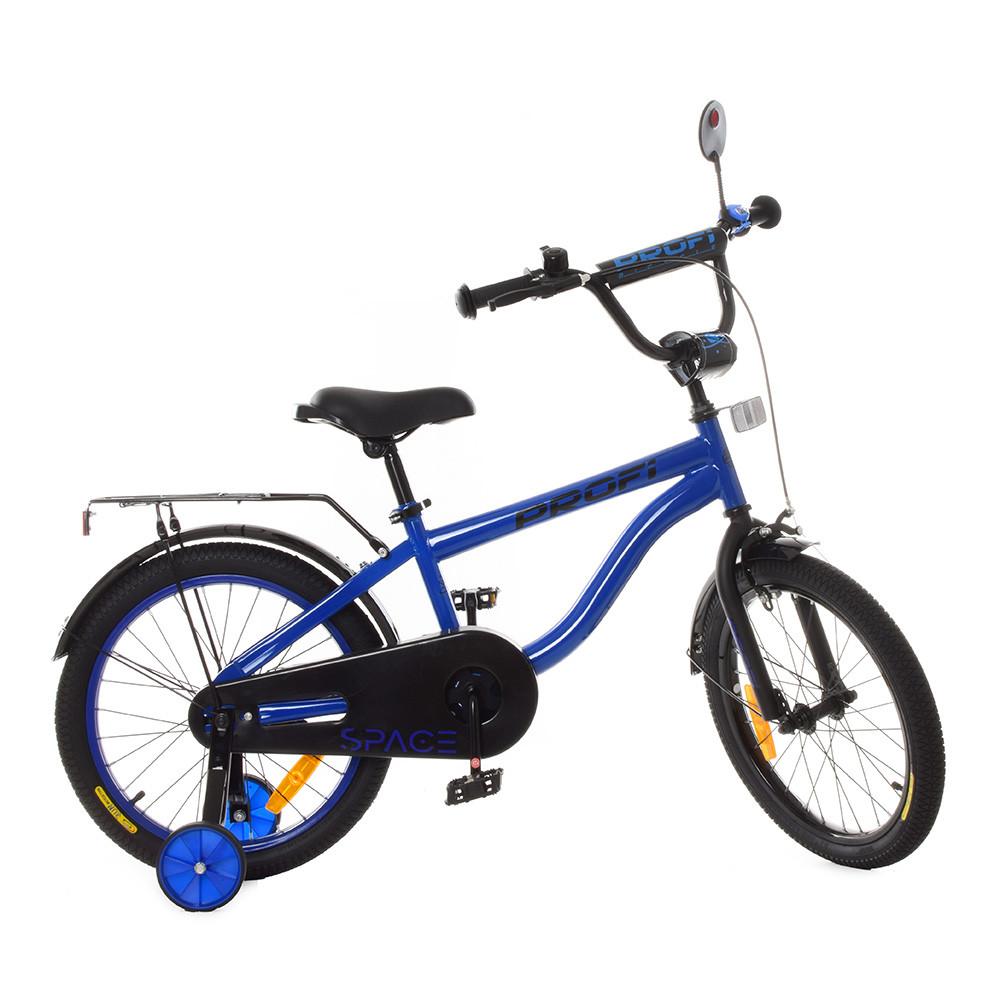 Велосипед детский PROF1 18д. SY18153 (1шт)Space,индиго,свет,звонок,зерк.,доп.колеса