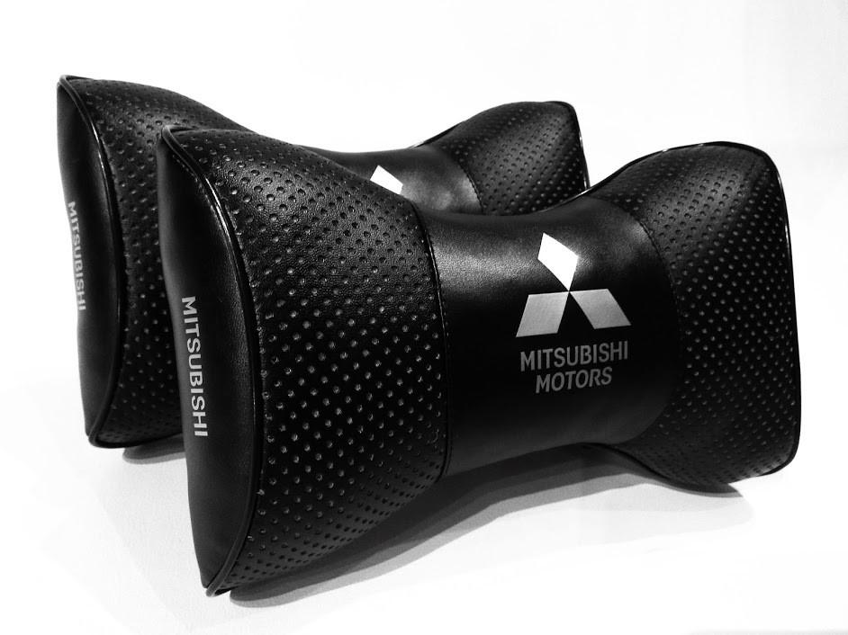 Автомобільна подушка на підголовник в машину MITSUBISHI Подарунок водій автомобіля MITSUBISHI