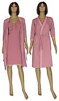 Комплект пеньюар с кружевом, ночная рубашка и теплый халат 21002 Santolina Soft коттон / гипюр Лиловый