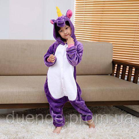 Кигуруми пижама Единорог фиолетовый детский, кигуруми Единорог фиолетовый для деток / Kig - 0068