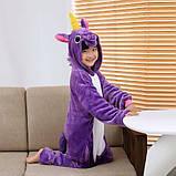 Кигуруми пижама Единорог фиолетовый детский, кигуруми Единорог фиолетовый для деток / Kig - 0068, фото 3