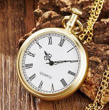 Карманные часы на цепочке кварцевые золотистые