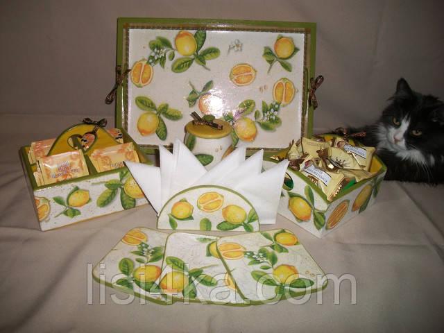 Набор для кухни бело-оливково-желтый с лимонами