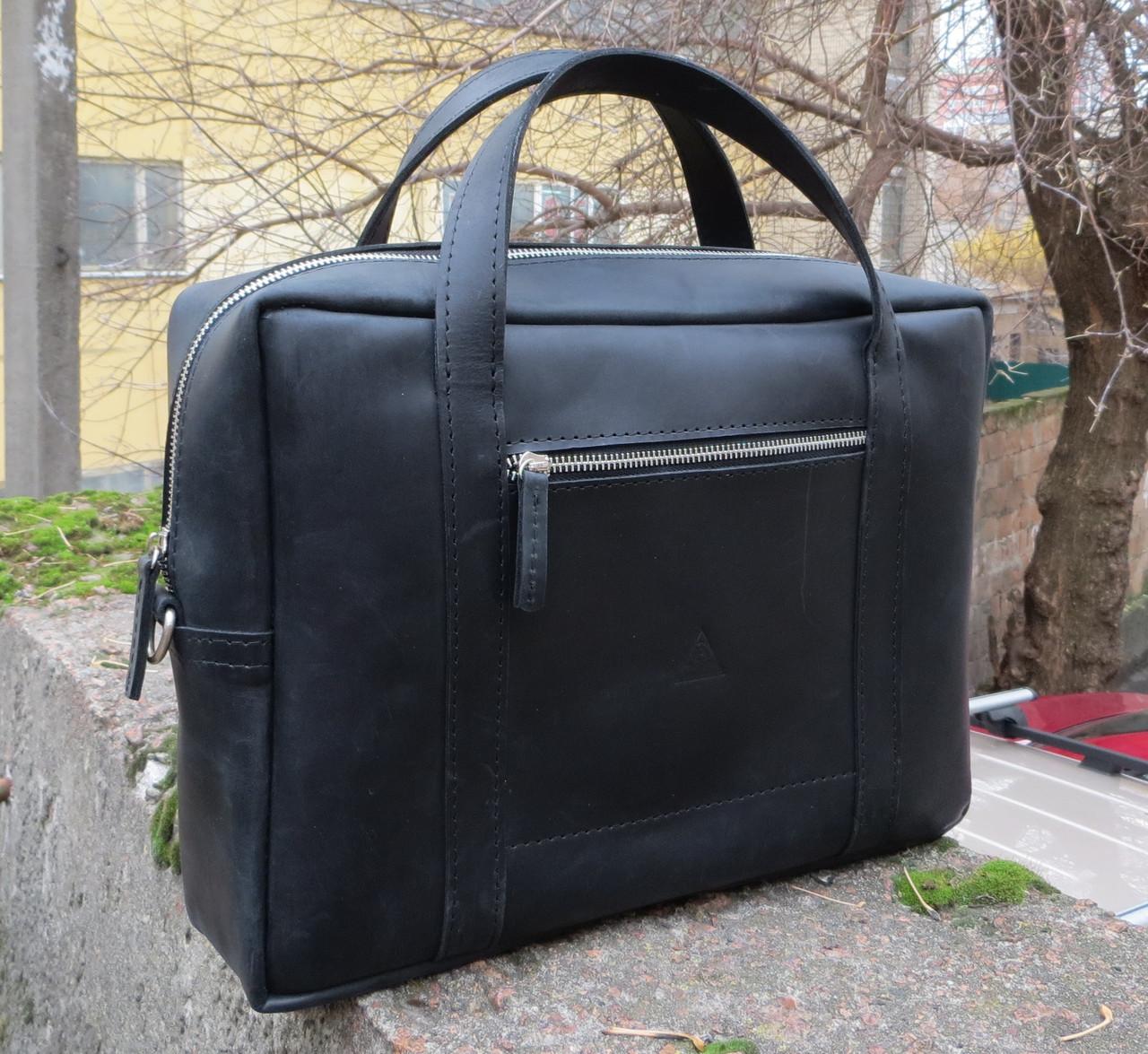 Чоловіча практична шкіряна сумка Agruz 72991 чорний