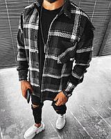 Мужская байковая рубашка в клетку темно-серая, фото 1