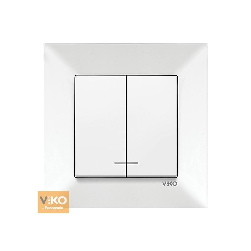 Вимикач з підсвічуванням двоклавішний VIKO Meridian - Білий