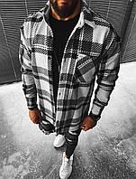 Чоловіча байкова сорочка в клітинку біло-сіра, фото 1